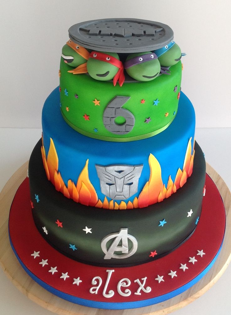 Avengers, Transformers and Turtles Cake