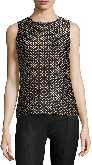 Michael Kors Collection Jewel-Neck Floral-Print Shell, Black/Suntan