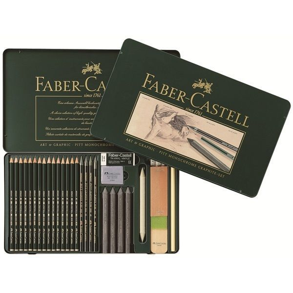 Faber-Castell PITT Graphite 29 Set Castell 9000 Pencil Crayon Eraser Stump Sharp #FaberCastell