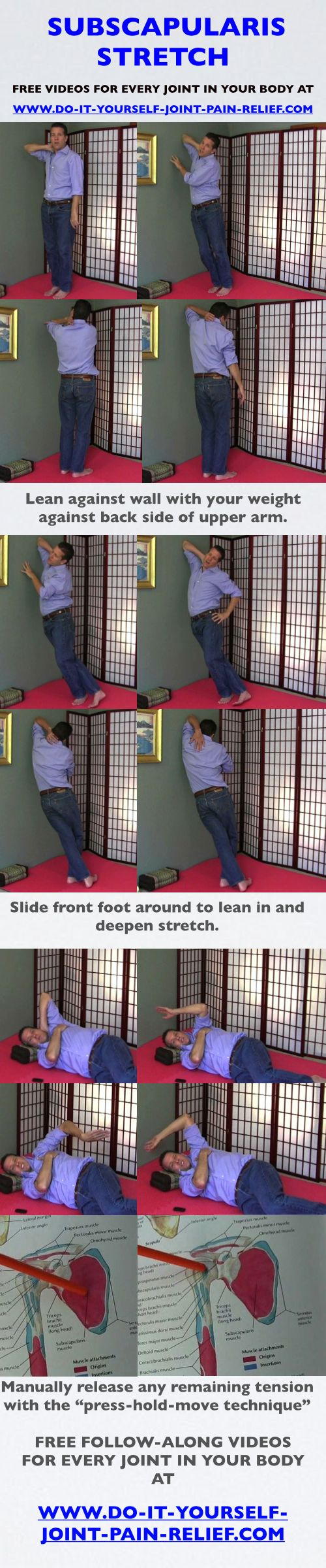 Free Your Neck with this Subscapularis Stretch! Great for those who compute or drive a lot. Or for those with pain where your neck and shoulders intersect. FREE videos of this stretch at: http://www.do-it-yourself-joint-pain-relief.com/subscapularis-stretch.html