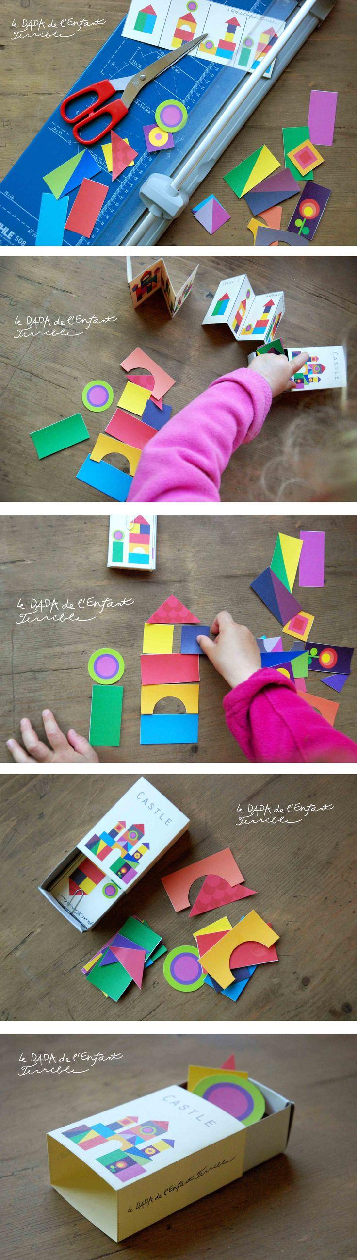 château de papier (et modèle) qui tiennent dans une boite d'allumettes - à imprimer