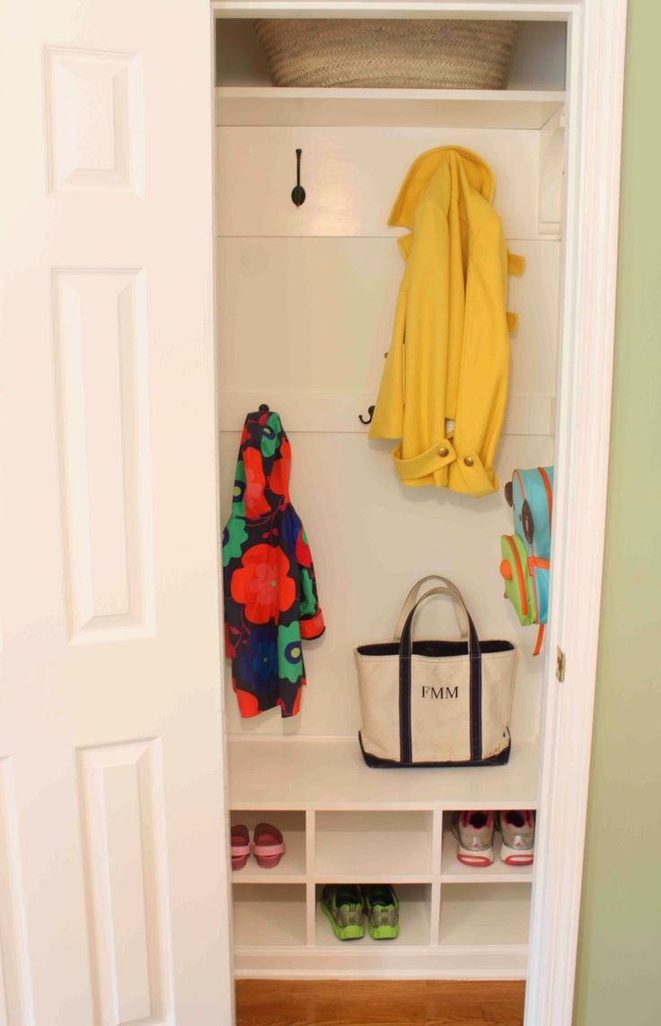 from hanging rod closet to tiny mudroom
