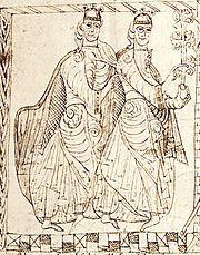 Los infantes Sancho y Fernando en el Privilegium Imperatoris de su padre, Alfonso VII de León; la muerte de este en 1157 provocó una nueva división de los reinos de Castilla y León, al otorgarse el reino de Castilla a Sancho y el de León a Fernando.