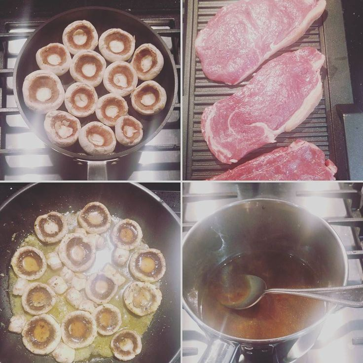 Let's cook! Garlic mushrooms steak peppercorn sauce ... Saturday night blowout!