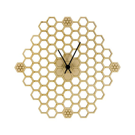 Minimal honeycomb wood wall clock Hexagonal Home decor