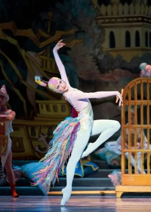 Pacific Northwest Ballet  Photo: Elizabeth Murphy as Peacock in Nutcracker. (c) Angela Sterling.