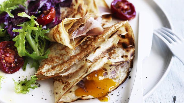 Try a savoury twist on breakfast pancakes with Neil Perry's crepes with egg, ham and gruyere cheese.