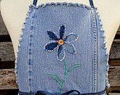 Denim Garden Potholder & Apron Set  - Upcycled Blue Jeans Kitchen Set