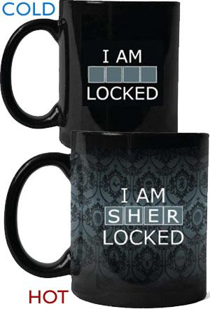 ven super sleuths need caffeine to unlock their full potential. Show your allegiance to all things Sherlock in this officially licensed heat-sensitive mug featuring the memorable phrase 'I am SHER-locked', brilliantly used to unlock Irene Adler's phone in the award winning episode A Scandal in Belgravia.