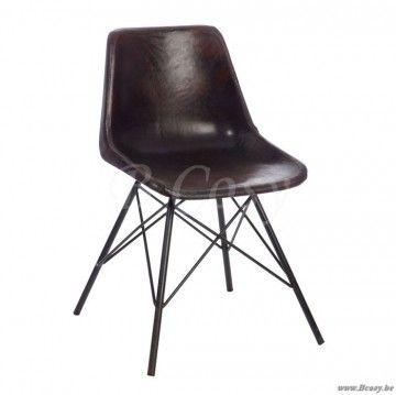 """J-Line Lederen retro vintage eetkamerstoel charles eames dsw design in donkerbruin leder <span style=""""font-size: 0.01pt;"""">Jline-by-Jolipa-46217-stoel-leder-stoel-kunstleder-chaise-chaises-en-cu</span>"""