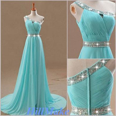 vestido longo azul água