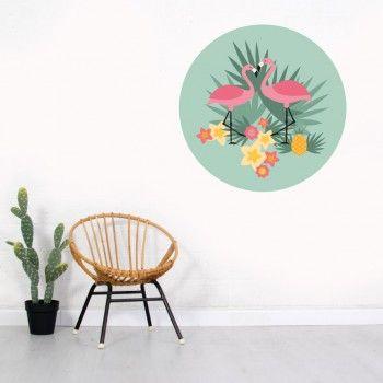 Muursticker Flamingo | groen | Little DreamZzz