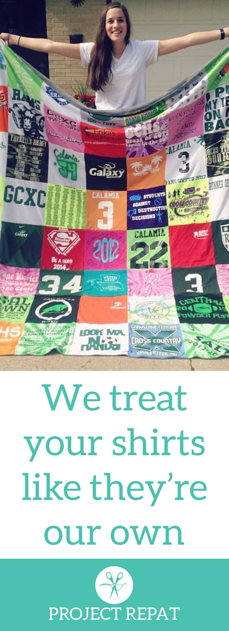 Every t-shirt quilt has a unique story to tell — what will yours say? Learn more about how you can turn t-shirts into a great conversation starter with Project Repat. https://www.projectrepat.com/?utm_source=Pinterest&utm_medium=3.1P