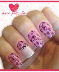 Películas ou Adesivos de Unhas Modelo Flores Lilás com Laço