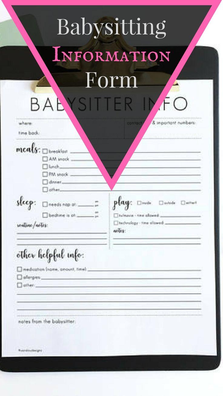 babysitter notes - babysitter information sheet - printable instant download - DIY - simple - babysitter form - nanny info - sitter info #ad #babyitter #parenting #children