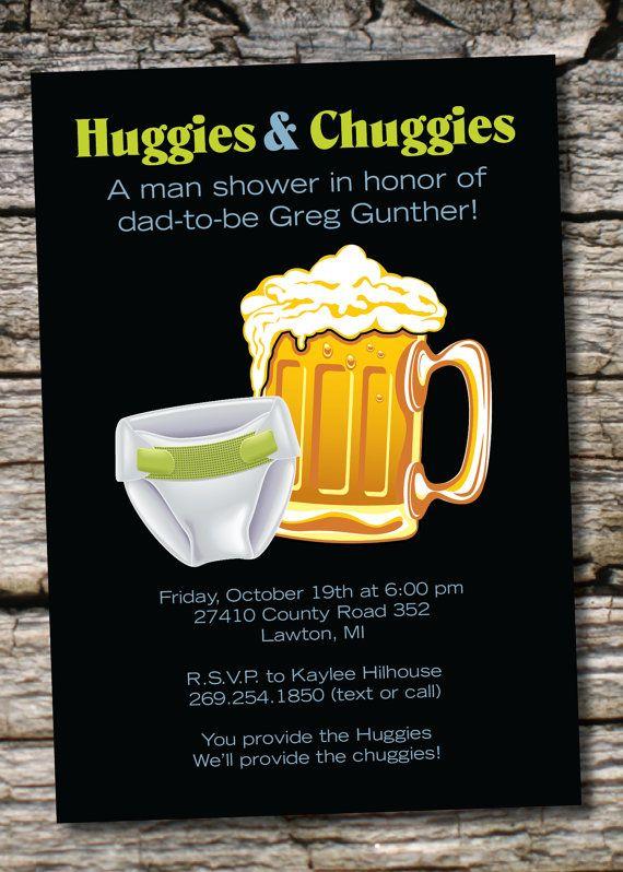 HUGGIES & CHUGGIES bbq, beer and babies Diaper Party Invitation Printable diy Customizable