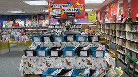 Fabulous idea for teacher wish lists!! Have them preselect their books into containers, display, and then parents can shop without having to find the item!