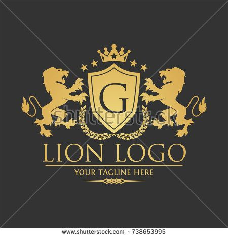 Lion Logo with G Letter in Royal Shield Vector Logo Template Used for hotel, restaurant, boutique, jewellery invitation, business card etc.
