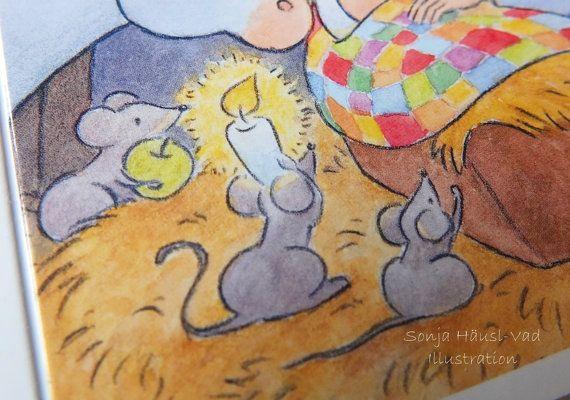 Weihnachtskarte mit drei Mäusen und dem von SonjaHauslVad auf Etsy
