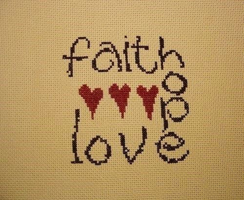 Finished cross stitch Faith Hope Love is a by northernstitcher