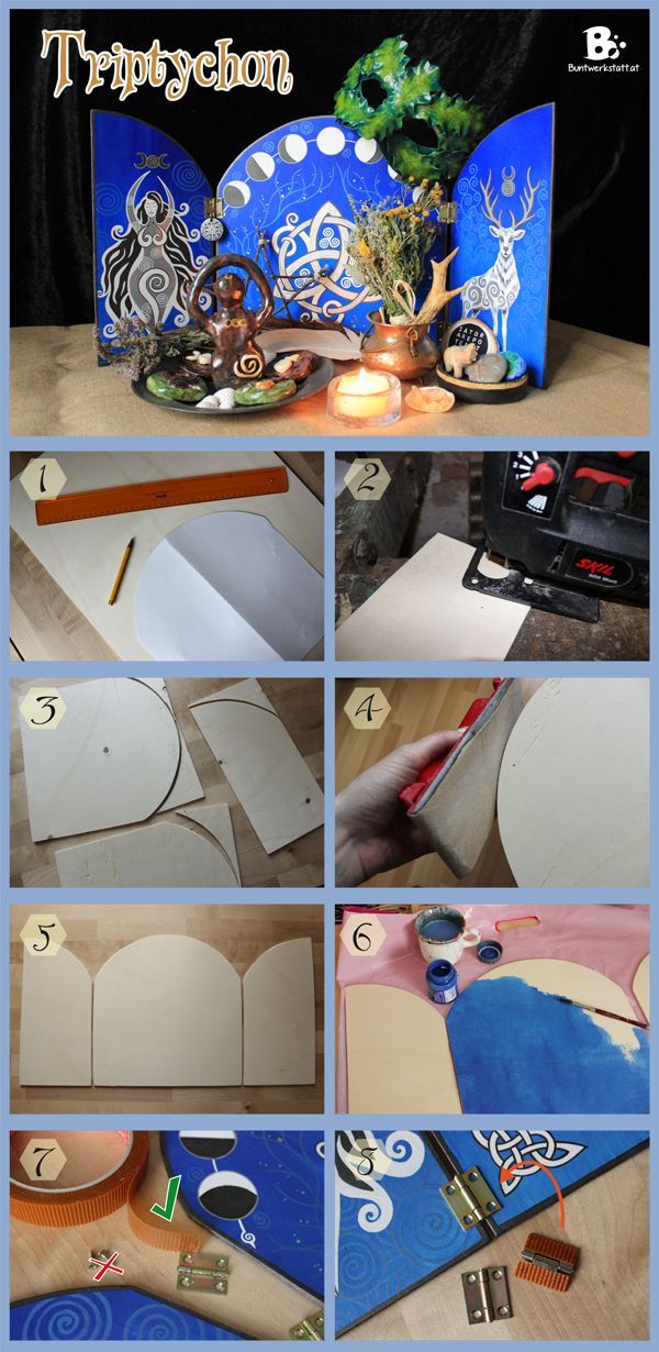 """DIY Tutorial on how to do this """"magical"""" triptych or desk-display. There are also downloadable patterns for this witchy craft in the blog post. - perfect background for pagan altars"""
