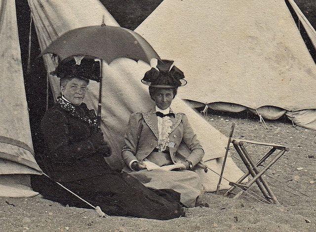 Two ladies on the beach at Paington, Devon.