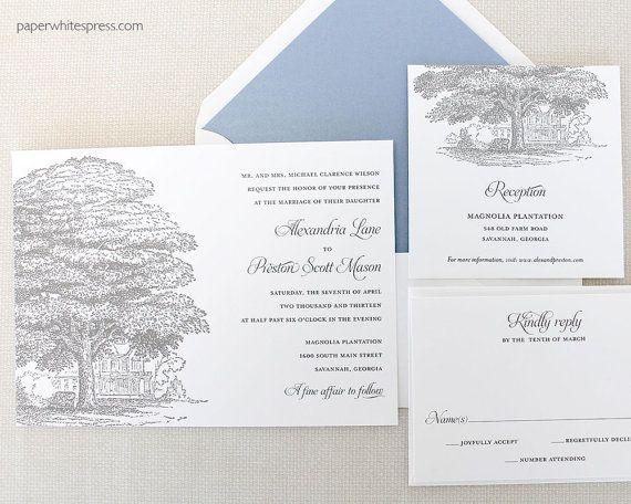 "Plantation Wedding Invitation, Oak Tree Wedding Invitation, Historic House Wedding Invitation ""Southern Plantation"" - Deposit to Get Started"