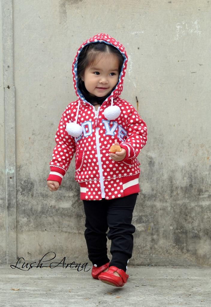 Miss Madeline rocking Rock Your Baby's Jet'aime Hoodie