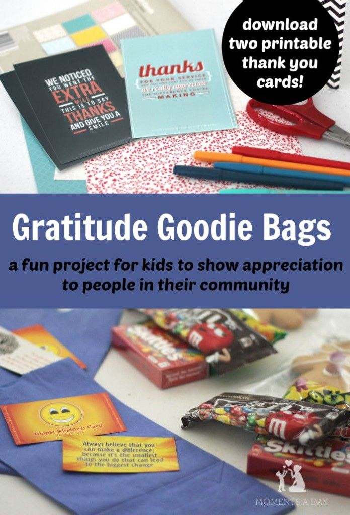Make your own Gratitude Goodie Bags to teach kids about showing appreciation to teachers and other community members
