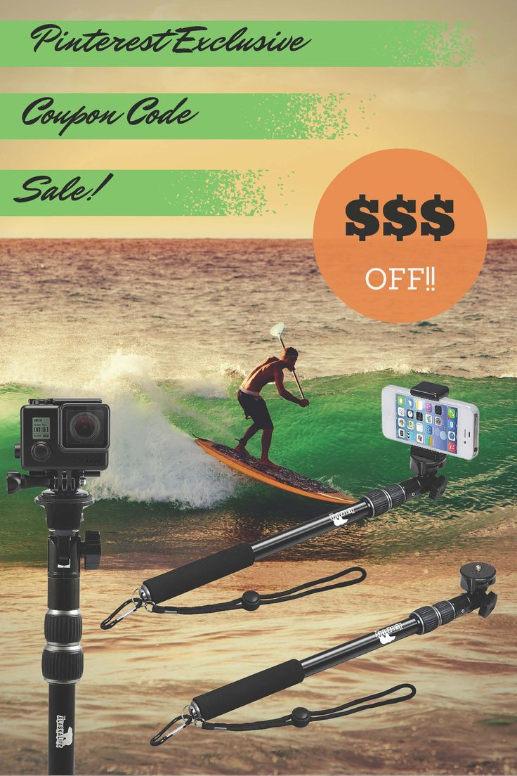 Exclusive Coupon Code for Pinners!  Save $10 on the highest rated selfie stick and GoPro pole online!  Over 850 reviews on Amazon!
