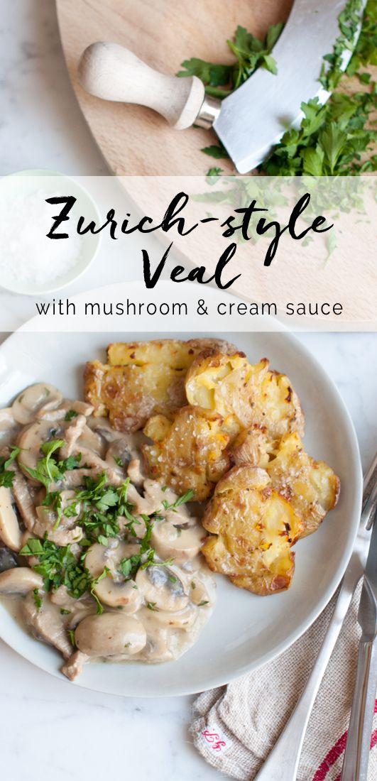 Zurich-style Veal with Mushroom & Cream Sauce. Zürcher Geschnetzeltes | eatlittlebird.com