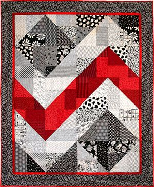 Black, White, and Red zig zag quilt. Via http://www.friendfolks.com/store-detail.php?ID=277