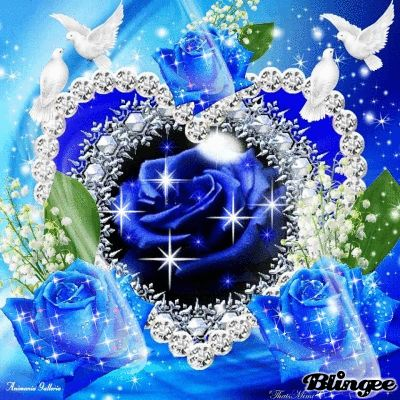 Blue Roses -Hearts and Bling