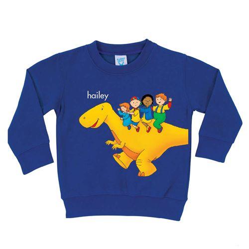 Caillou Dinosaur Ride Royal Blue Pullover Sweatshirt