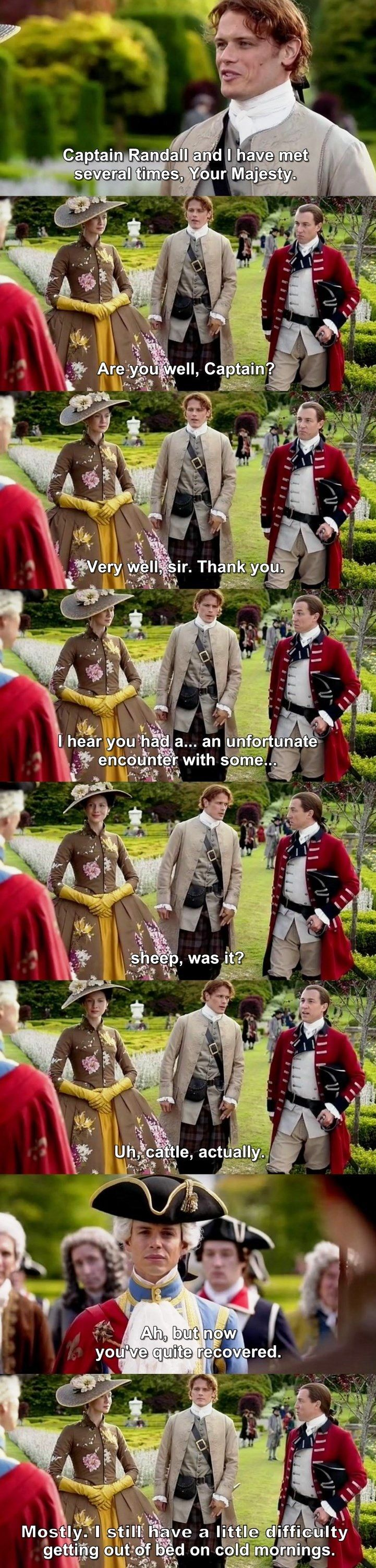 """""""Captain Randall and I have met several times, Your Majesty"""" - Jamie, Claire, King Louis and Jack Randall #Outlander"""