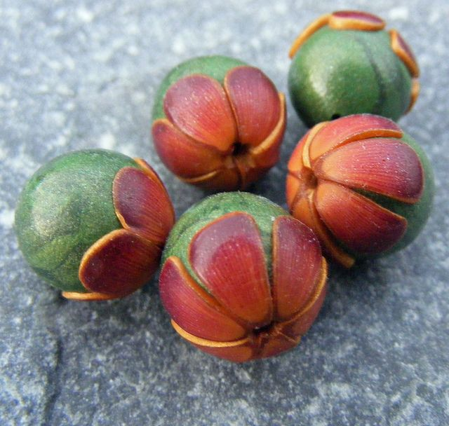 *POLYMER CLAY ~ Bronze Flower Capped Beads - EXPLORED!! by Pips Jewellery Creation, via Flickr
