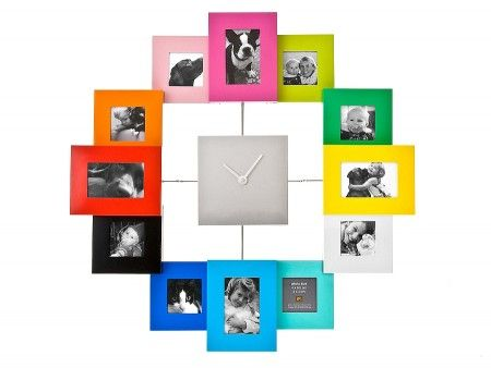 Picture Wall Clock...This very chic wall clock creatively displays 12 of your personal pictures. Change the images anytime