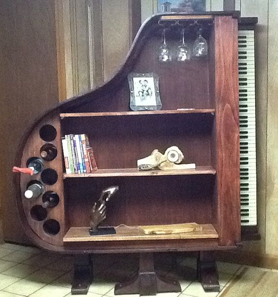 Repurposed 1930's Baby Grand Piano Bookcase and Wine Rack on Etsy, $1,500.00