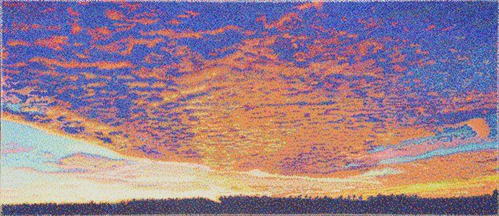 """#finearts, """"sunrise"""", 05. - 07. 2011, #pixelism - ca. 124.000 painted pixels, acrylic on canvas, 160 x 70 cm, ■ = 3 x 3 mm, (62.99"""" x 27.56"""", ■ = 0.12"""" x 0.12""""), painting time: 281 hours."""