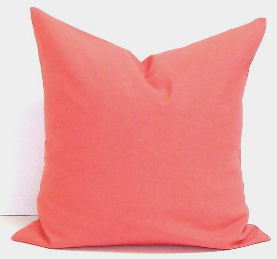 Small Coral Throw Pillows : SOLID CORAL PILLOW.24x24 inch Chevron.Decorator Pillow Cover.Printed Fabric Front and Back.Coral ...