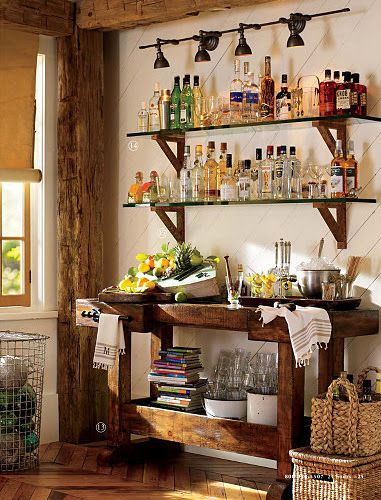 Color Outside the Lines: TUESDAY: Inspiring Spaces by Pottery Barn?  lighting above liquor shelves