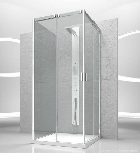 collezione Slide modello VA+VA+VG Parete doccia con porta scorrevole con parete fissa supplementare per cabine doccia a parete.