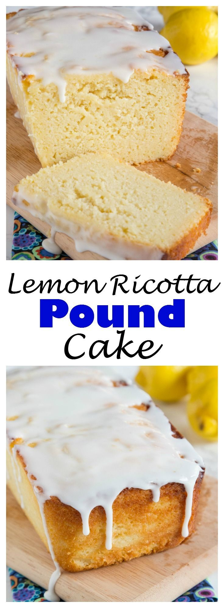 LEMON RICOTTA POUND CAKE – A DENSE AND SUPER MOIST LEMON POUND CAKE TOPPED WITH A LEMON GLAZE.