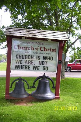 Funny church sign - Church is who we are, not where we go