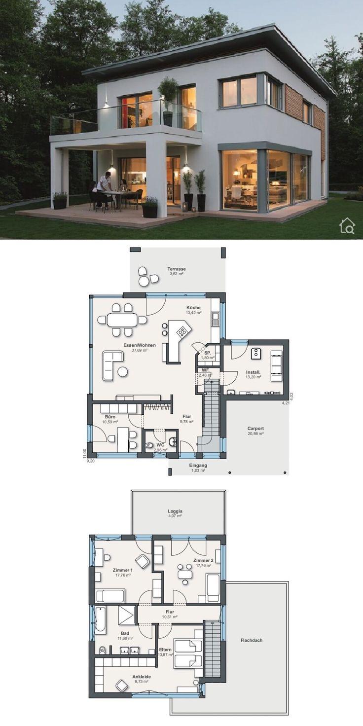 Modernes Passivhaus mit Flachdach Architektur & 5 Zimmer Grundriss offen, 180 qm…  # HausbauDirekt