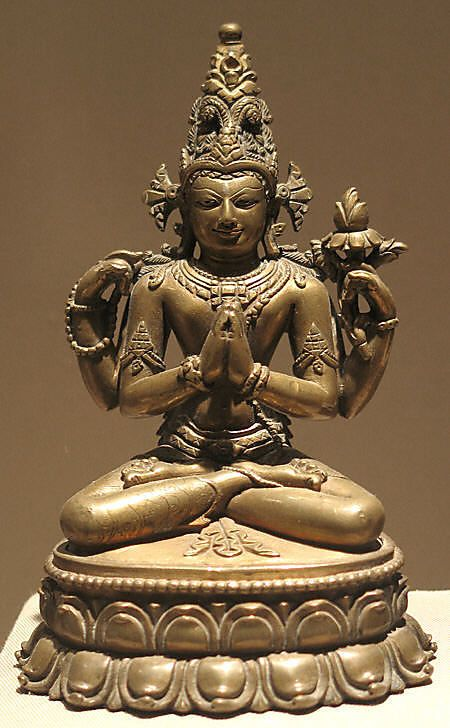 Shadakshari Lokeshvara Period: Pala period Date: 12th century Culture: India (West Bengal or Bihar) or Bangladesh Medium: Bronze with silver and copper inlay Dimensions: H. 5 1/8 in. (13 cm) Classification: Sculpture Credit Line: Gift of Mr. and Mrs. A. Richard Benedek, 1982 Accession Number: 1982.457