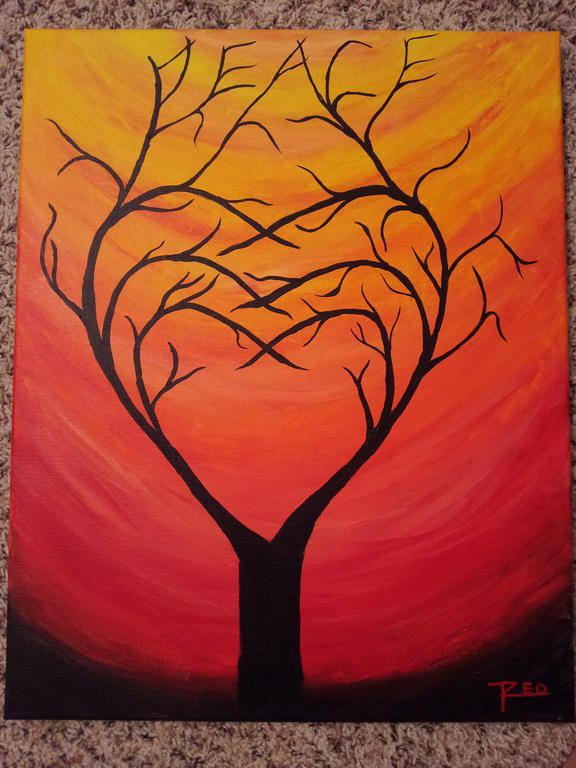 Pix for acrylic painting for beginners tree painting for Canvas painting tutorial for beginners