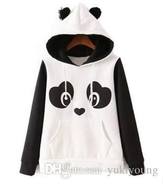 2017 2016 Autumn And Winter New Ladies American Hippie Cute Panda Black And White Color Printing Of Cashmere Hoodie From Yukiyoung, $15.08 | Dhgate.Com