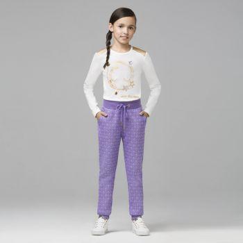 Трикотажные брюки для девочки, цвет лавандовый