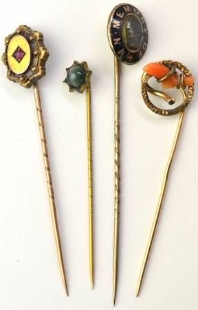 Antique Hat Pins w/ Ruby & Coral